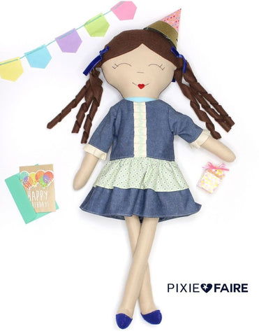 "Easter Day Dress for 18"" Doll Clothes Pattern"