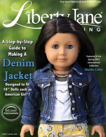 "Liberty Jane 18 Inch Modern Denim Jacket 18"" Doll Clothes Pattern Pixie Faire"