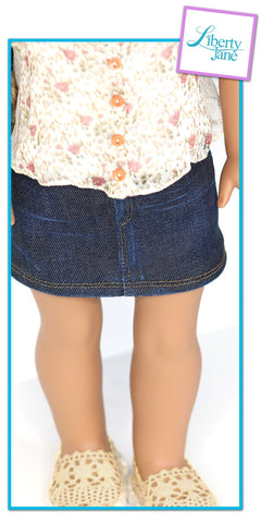 Liberty Jane Denim Mini Skirt 18 inch Doll Clothes Pattern