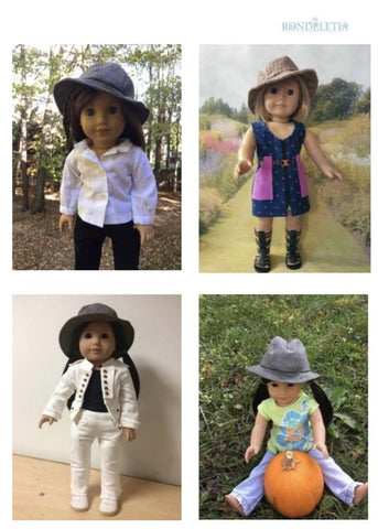 PDF doll clothes sewing pattern Rondaletia Derby Day Fedora hat designed to fit 14 18 20 inch dolls American Girl