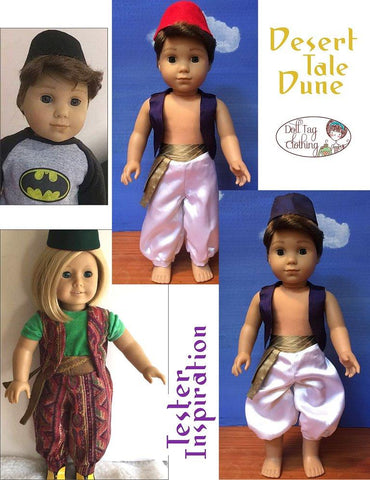 pdf doll clothes sewing pattern Doll Tag Clothing Desert Tale Dune arabian prince costume for 18 inch American Girl boy dolls