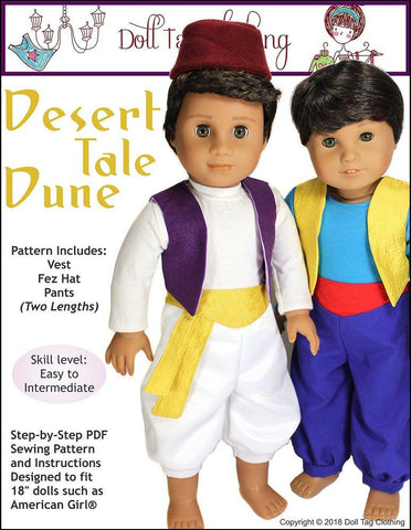 "Doll Tag Clothing 18 Inch Modern Desert Tale Dune 18"" Doll Clothes Pattern Pixie Faire"