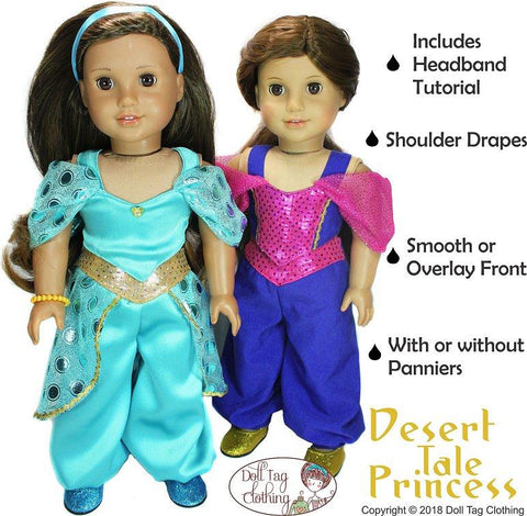 PDF Doll clothes sewing pattern desert tale princess genie Arabian costume designed to fit American Girl