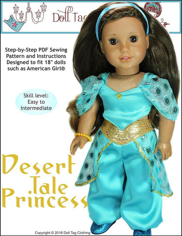 "Doll Tag Clothing 18 Inch Modern Desert Tale Princess 18"" Doll Clothes Pattern Pixie Faire"