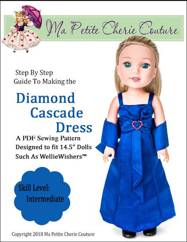 PDF doll clothes sewing pattern Diamond Cascade Dress Gown designed to fit 14.5 inch WellieWishers dolls