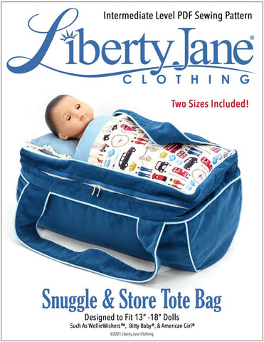 "Liberty Jane Bitty Baby/Twin Snuggle & Store Tote Bag 13"" - 18"" Doll Accessory Pattern Pixie Faire"