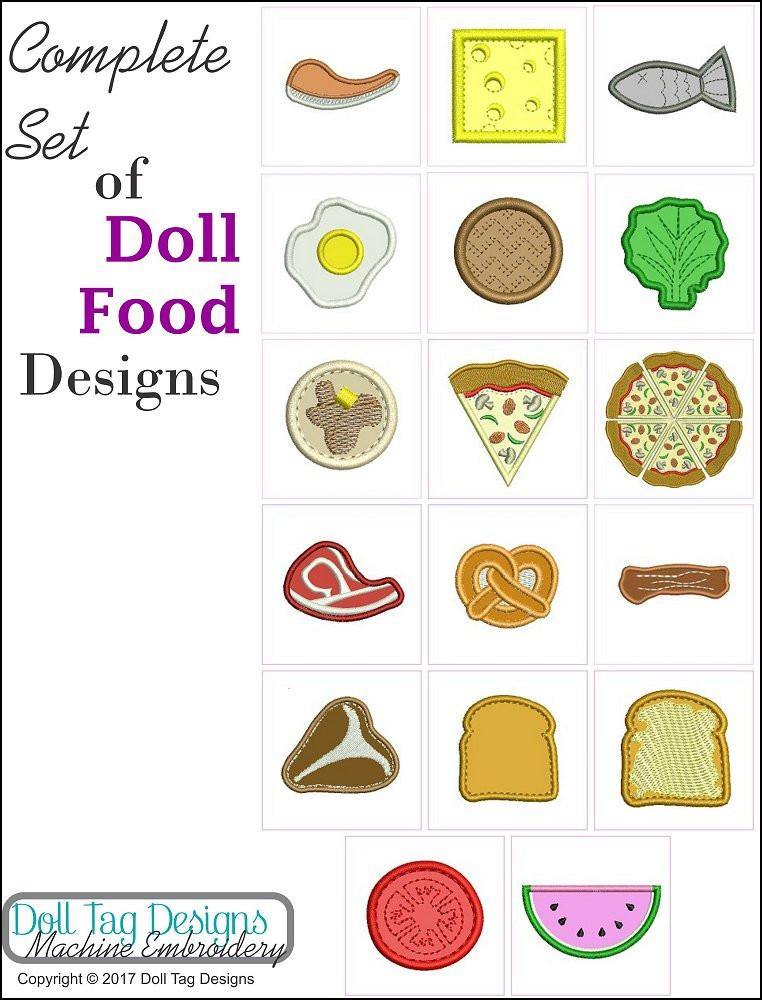Doll Tag Designs Doll Play Food Machine Embroidery Designs