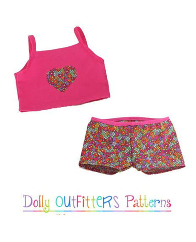 "Dolly Outfitters 18 Inch Modern Cami and PJ Shorts 18"" Doll Clothes Pattern Pixie Faire"