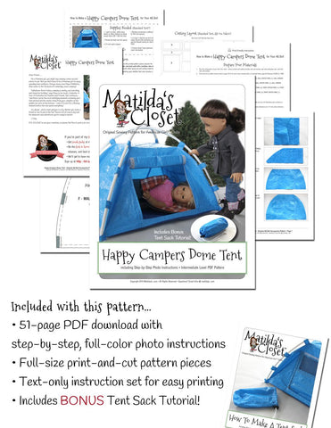 "Happy Campers Dome Tent 18"" Doll Accessory Pattern"