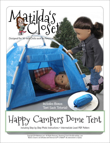 "Matilda's Closet 18 Inch Modern Happy Campers Dome Tent 18"" Doll Accessory Pattern Pixie Faire"
