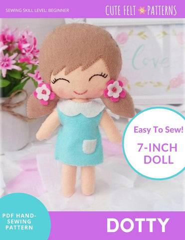 "Dotty 7"" Felt Doll Hand Sewing Pattern"