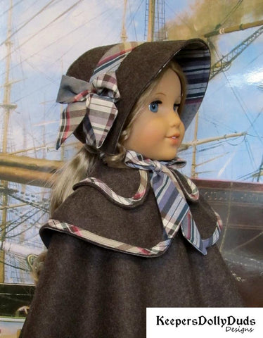 Keepers Dolly Duds Double Cape and Bonnet PDF doll clothes sewing pattern designed to fit 18 inch American Girl dolls
