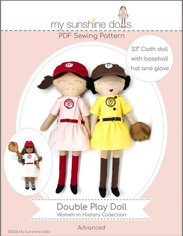 "My Sunshine Dolls BOGO Cloth doll Double Play Doll 23"" Cloth Doll Pattern Pixie Faire"