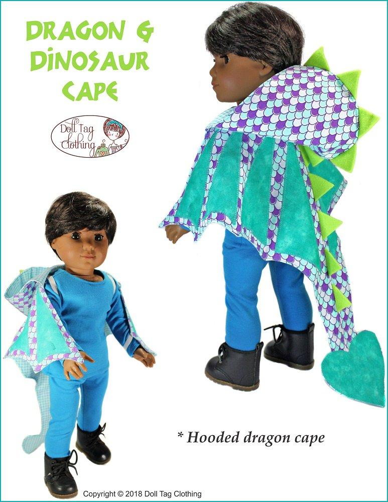 8eaf491513a2 ... pdf doll clothes sewing pattern Doll Tag Clothing Dragon and Dinosaur  Cape designed to fit 18 ...