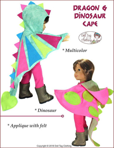 pdf doll clothes sewing pattern Doll Tag Clothing Dragon and Dinosaur Cape designed to fit 18 inch American Girl dolls