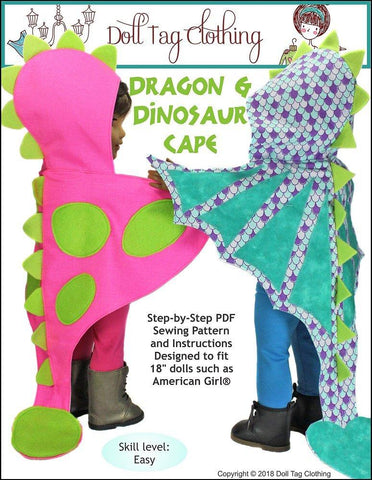 "Doll Tag Clothing 18 Inch Modern Dragon and Dinosaur Cape 18"" Doll Clothes Pattern Pixie Faire"