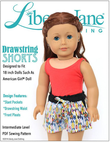 "Drawstring Shorts 18"" Doll Clothes Pattern"