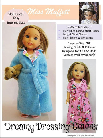 "Little Miss Muffett WellieWishers Dreamy Dressing Gowns 14.5"" Doll Clothes Pattern Pixie Faire"