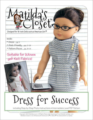 "Matilda's Closet 18 Inch Modern Dress For Success 18"" Doll Clothes Pattern Pixie Faire"