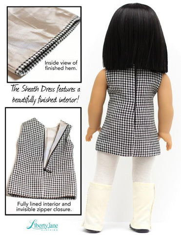 "Sheath Dress and Spats 18"" Doll Clothes Pattern"