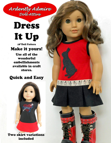 "Dress it Up Dress 18"" Doll Clothes Pattern"