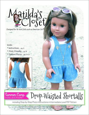 "Matilda's Closet 18 Inch Modern Summer Camp Collection: Drop-Waisted Shortalls 18"" Doll Clothes Pixie Faire"