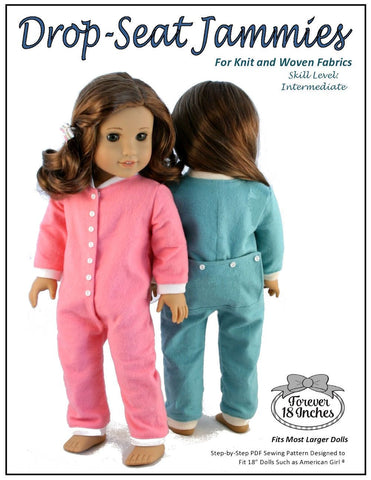 pdf doll clothes sewing pattern Forever 18 drop seat jammies designed to fit 18 inch american girl dolls