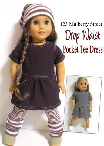 "Drop Waist Pocket Tee Dress 18"" Doll Clothes Pattern"