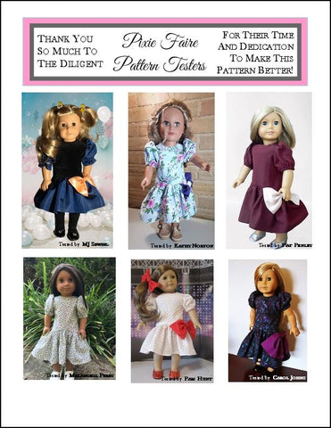 "Awesome 80s Party Dress 18"" Doll Clothes Pattern"