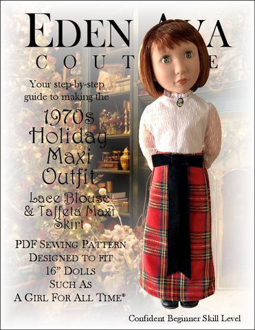 "Eden Ava A Girl For All Time 1970s Holiday Maxi Outfit 16"" AGAT Doll Clothes Pattern Pixie Faire"