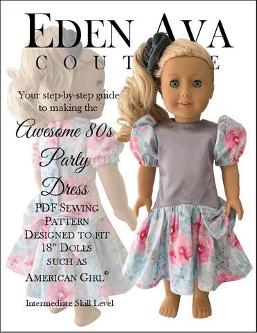 "Eden Ava 18 Inch Historical Awesome 80s Party Dress 18"" Doll Clothes Pattern Pixie Faire"