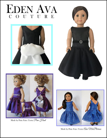 "Black Tie Gala Gown 18"" Doll Clothes Pattern"