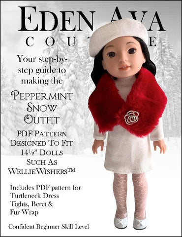 "Peppermint Snow Outfit 14.5"" Doll Clothes Pattern"