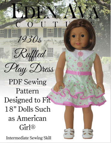 1930s Ruffled Play Dress 18 inch Doll Clothes Pattern