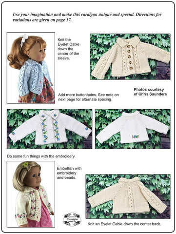 "Eyelet Cable Cardigan 18"" Doll Clothes Knitting Pattern"