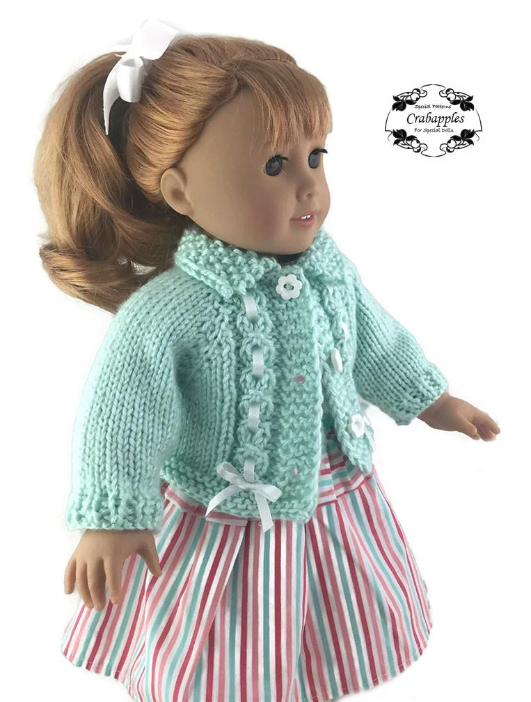 Eyelet Cable Cardigan Pattern for 18 inch dolls such as ...