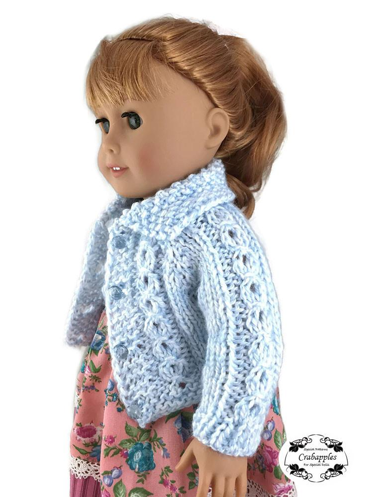 Eyelet Cable Cardigan Pattern For 18 Inch Dolls Such As American