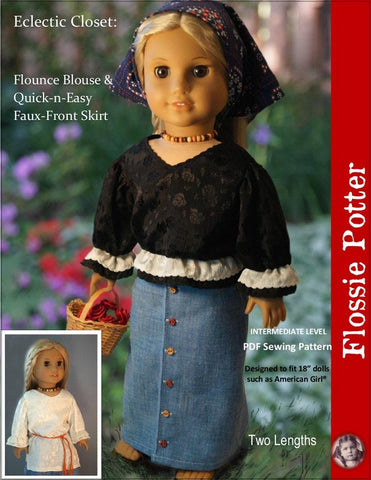 "Flossie Potter 18 inch Historical Eclectic Closet Flounce Blouse & Skirt 18"" Doll Clothes Pattern Pixie Faire"