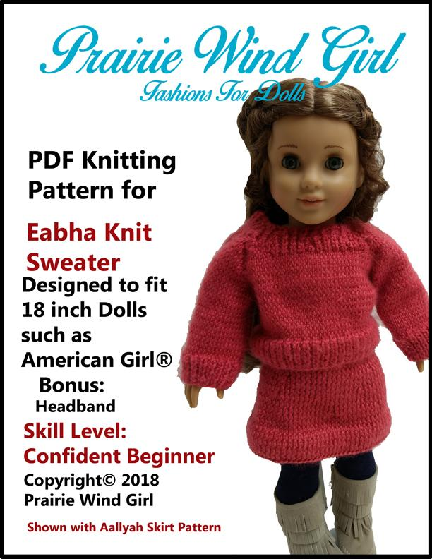Prairie Wind Girl Eabha Knit Sweater Doll Clothes Pattern 18 Inch