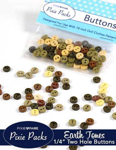 "Pixie Packs 1/4"" Buttons Earth Tones"