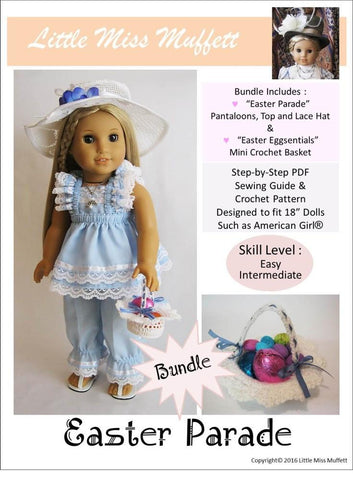 "Little Miss Muffett 18 Inch Modern Easter Parade Bundle 18"" Doll Clothes Pattern Pixie Faire"