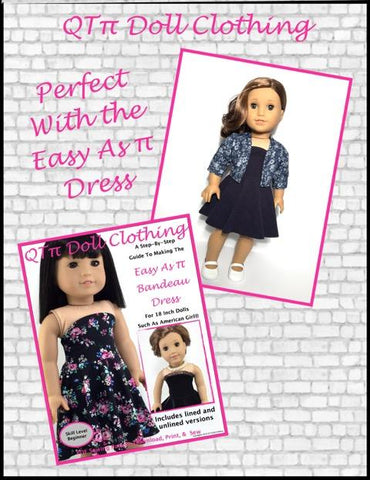 pdf doll clothes sewing pattern easy as π Jacket designed to fit 18 inch American Girl dolls