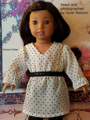 "Eclectic Closet Flounce Blouse & Skirt 18"" Doll Clothes Pattern"