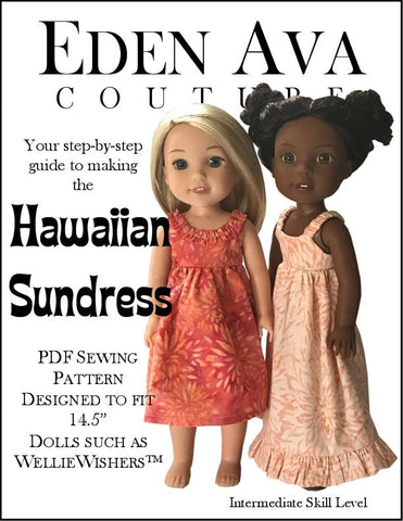 PDF doll clothes sewing pattern Hawaiian Sundress designed to fit WellieWishers