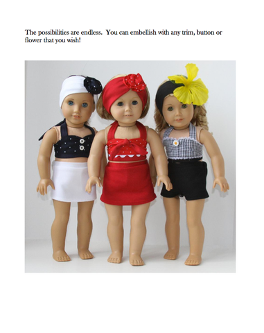 "1940's Swimsuit 18"" Doll Clothes Pattern"
