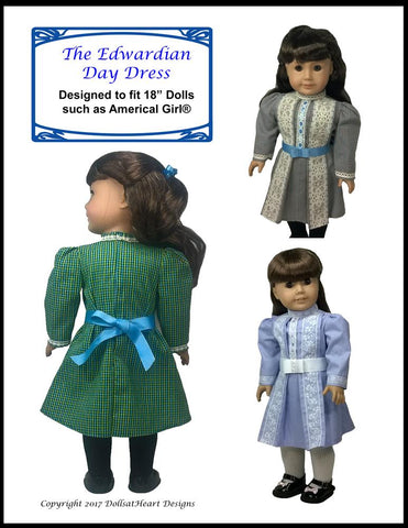 "Edwardian Day Dress 18"" Doll Clothes Pattern"