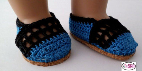 "Sweet Pea Fashions Shoes Elena Crocheted Shoes 18"" Doll Crochet Pattern Pixie Faire"