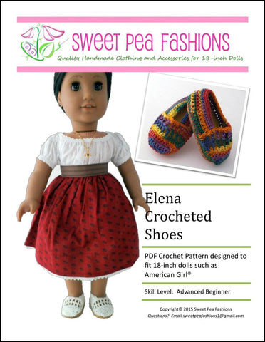 "Elena Crocheted 18"" Doll Shoes"