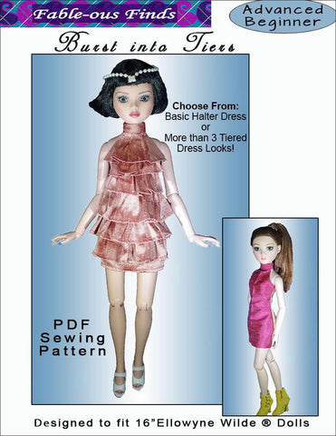 Burst Into Tiers Dress Pattern for Ellowyne Dolls