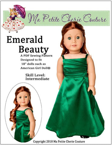 PDF Sewing Pattern Ma Petite Cherie Couture Emerald Beauty Gown designed to fit 18 inch American Girl Dolls